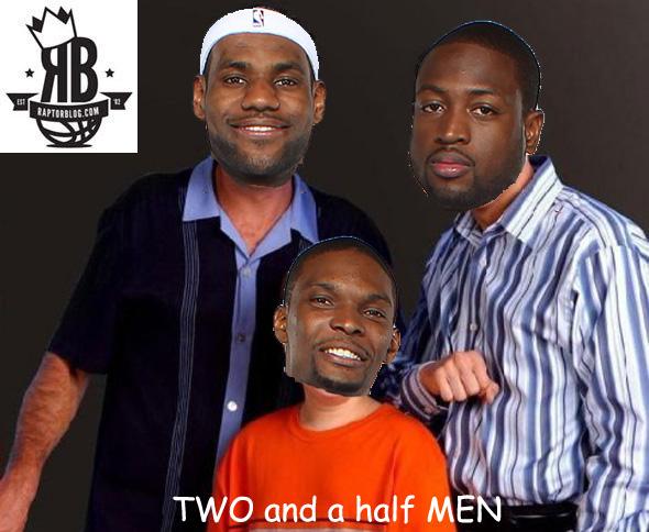 "LeBron James, Dwyane Wade and Chris Bosh start in RaptorBlog's ""Two and a Half Men"""